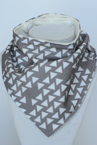 Grey Triangles bandana bib with bamboo back