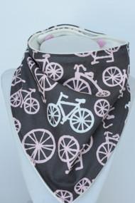 Pink Bikes bandana bib with bamboo backing.