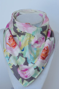 Petal Bright Grey bandana bib with bamboo backing
