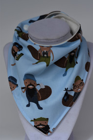 Campsite Beavers bandana bib with bamboo back