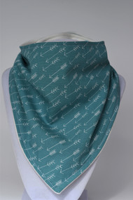 Adventure Awaits teal arrow bandana bib