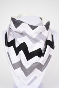 Shaded Chevron Greys bandana bib with bamboo back