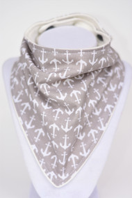 Grey Anchor bandana bib with bamboo back