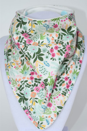 Forest Florals bandana bib with bamboo back