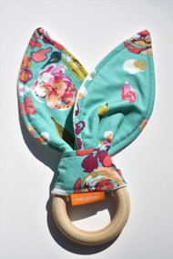 Blooms on Teal wooden teether