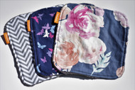Navy Blooms 3 pack washie set