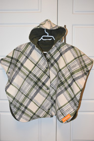 size large car seat poncho, hunter green plaid