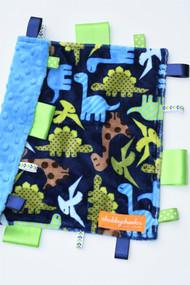 Navy Dino size small tag blanket