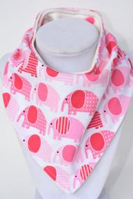 Pink Elephants bandana bib with bamboo back