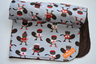 Hockey Beavers blanket with brown minky back