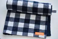 Navy Plaid stroller blanket.  Navy backing