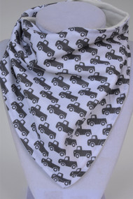 tiny Grey Trucks bandana bib