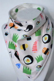 Sushi bandana bib with bamboo back
