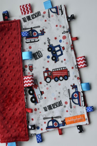 To the rescue large tag blanket with red  minky backing