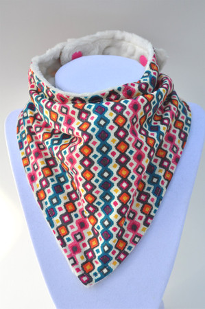 Pink Teal Design bandana bib with ivory minky
