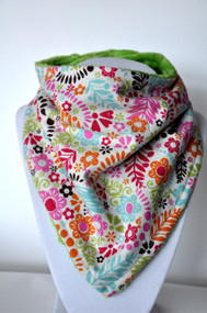 Hawaiian Summer bandana bib with green minky backing