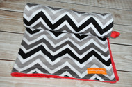 Black / Grey / White Chevron with Red minky back stroller blanket