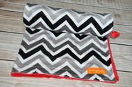 Black / Grey / White Chevron with Red minky back stroller blanket