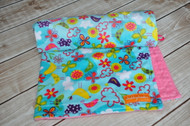 Blue Summer's Breeze Stroller Blanket with pink minky backing