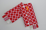 White on red dots with white ribbons baby carrier drool pads