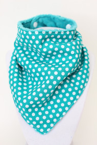 Teal Polka Dot bandana bib with teal minky back