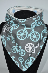 Bicycles in Blue bamboo backed bandana bib