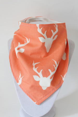 Buck in Peach with bamboo back bandana bib