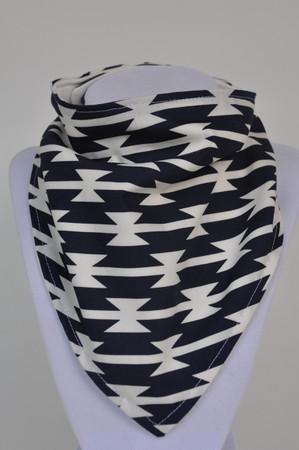 Tomahawk stripe bandana bib with bamboo back.