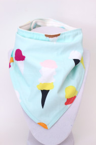 Ice Cream Cone bandana bib with bamboo backing