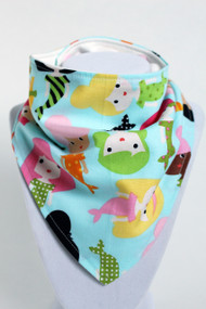 Mermaid Girls bandana bib with bamboo backing.