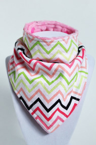 Watermelon Chevron bandana bib with pink minky back