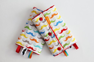 Colourful Mustaches baby carrier drool pads