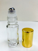5ml (1/6 oz) Clear Rollon Bottle With Stainless Steel Roller with Aluminum Gold Caps