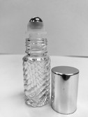 5ml (1/6 oz) Swirl Rollon Bottle With Stainless Steel Roller with Aluminum Silver Caps