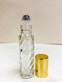 10ml (1/3 oz) Swirl Rollon Bottle With Stainless Steel Roller with Aluminum Gold Caps