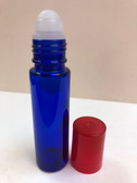 10ml (1/3 oz) Cobalt Blue Rollon Bottle With Plastic Roller & Red Caps