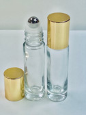 10ml (1/3 oz) Clear Rollon Bottle With Stainless Steel Roller with Aluminum Gold Caps