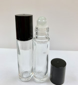 10ml [1/3 oz] CLEAR Glass Roll On Bottle with Plastic Black Cap with GLASS Roller