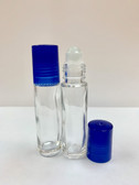 10ml [1/3 oz] CLEAR Glass Roll On Bottle with Plastic BLUE Cap with GLASS Roller
