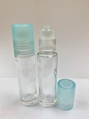 10ml [1/3 oz] CLEAR Glass Roll On Bottle with Plastic LIGHT BLUE Cap with GLASS Roller