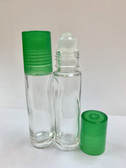 10ml [1/3 oz] CLEAR Glass Roll On Bottle with Plastic GREEN Cap with GLASS Roller