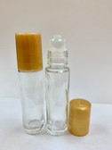 10ml [1/3 oz] CLEAR Glass Roll On Bottle with Plastic GOLD Cap with GLASS Roller