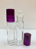 10ml [1/3 oz] CLEAR Glass Roll On Bottle with Plastic PUIRPLE Cap with GLASS Roller