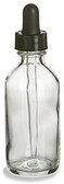 60ml [2 oz] CLEAR Boston Round Bottle with 20-400 Standard Glass Dropper 7X89mm-12 Pcs