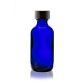 240 Pcs [Case], 60ml [2 oz] Cobalt Blue Boston Round Bottle with 20-400 Plastic Cone Lined Caps