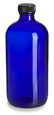 64 Pcs, 120ml [4 oz] Cobalt Blue Boston Round Bottle with 22-400 Plastic Cone Lined Caps