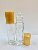 144 Pcs, 10ml [1/3 oz] CLEAR Glass Rollon Bottle with GLASS Roller & Plastic Gold Caps