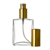 60ml [2 oz] Flat Square Shaped Style Perfume Atomizer Empty Refillable Glass Bottle with Gold Sprayer Cap