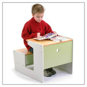Offi and Co. Sled Desk  Traditional Wooden School Desk with Storage Space
