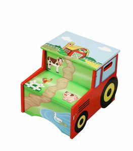 Amazing Teamson Design Kids Happy Farm Wooden Step Stool With Storage Creativecarmelina Interior Chair Design Creativecarmelinacom
